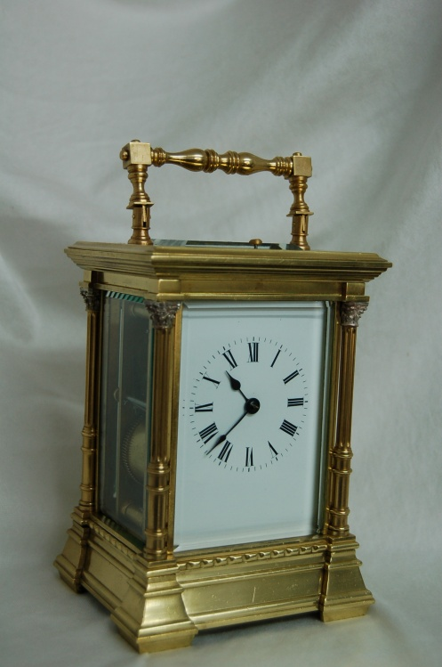 French repeating carriage clock with columns